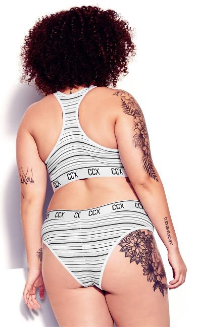 CCX Logo Print Crop Top - grey stripe