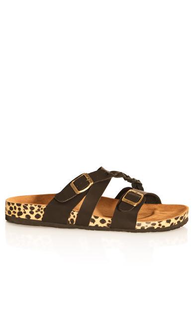 Plus Size Deena Plait Sandal - black animal
