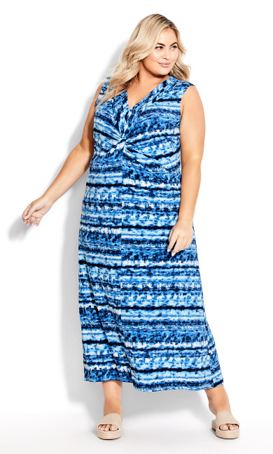 Plus Size Twist Front Maxi Dress - blue tie dye