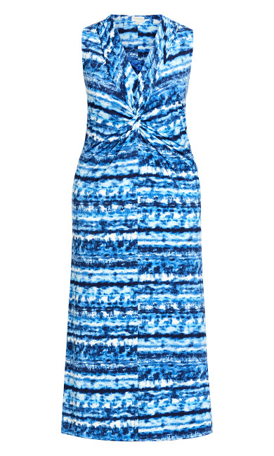 Twist Front Maxi Dress - blue tie dye