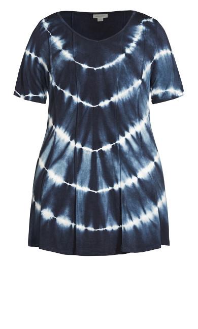 Swing Panel Print Tunic - navy tie dye