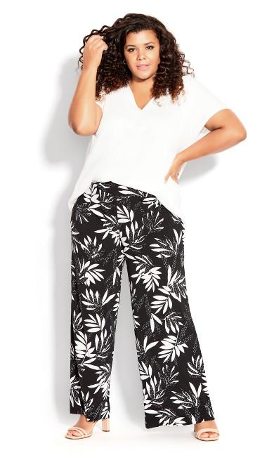 Plus Size Paola Knit Pant - mono palm