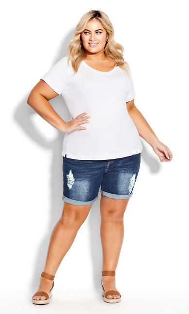 Plus Size Giana Ripped Short - mid wash