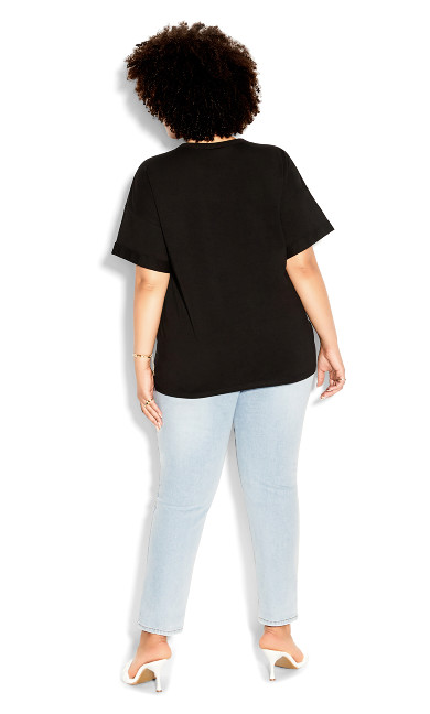 Rolled Attitude Top - black