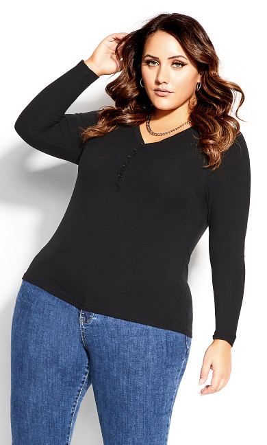 Button Long Sleeve Top - black