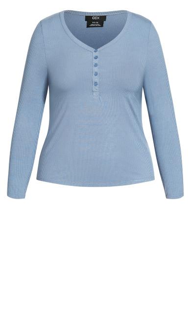 Button Long Sleeve Top - grey