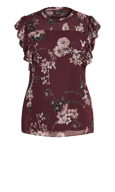 Shirred Blossom Top - bordeaux