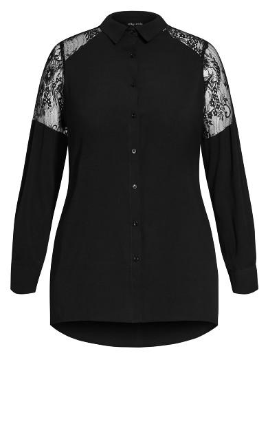 Lacey Hi Lo Shirt - black