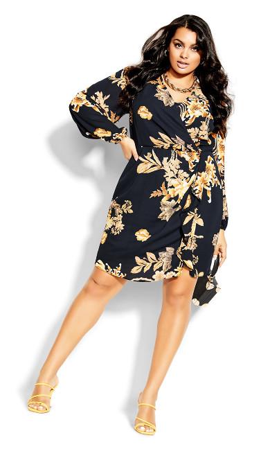Regal Floral Dress - navy