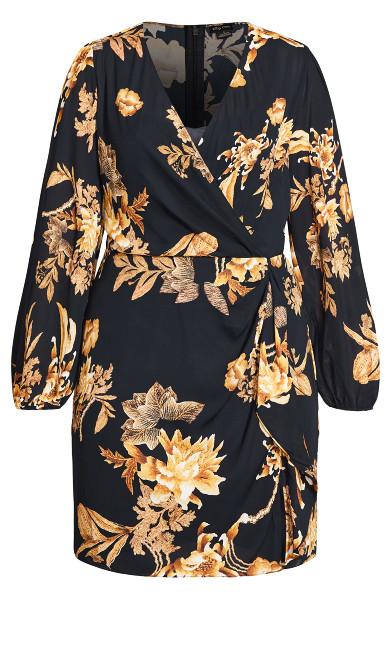 Regal Floral Dress - black