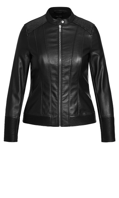 Ribbed Biker Jacket - black