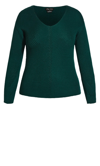 Simple V Neck Jumper - alpine