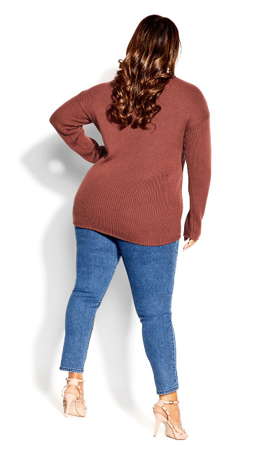 Simple V Neck Jumper - amaretto