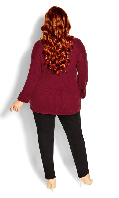 Simple V Neck Jumper - sangria