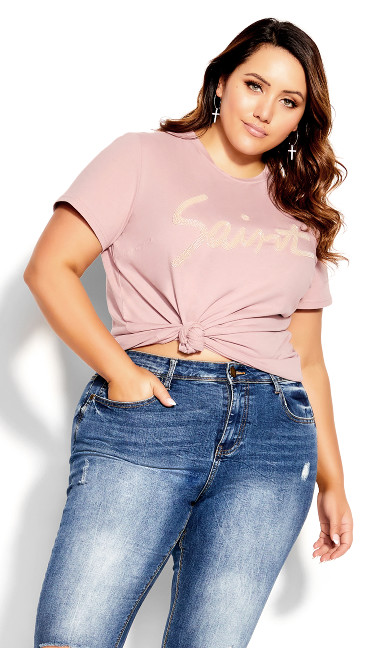 Wild Embroidered Tee - dusty rose