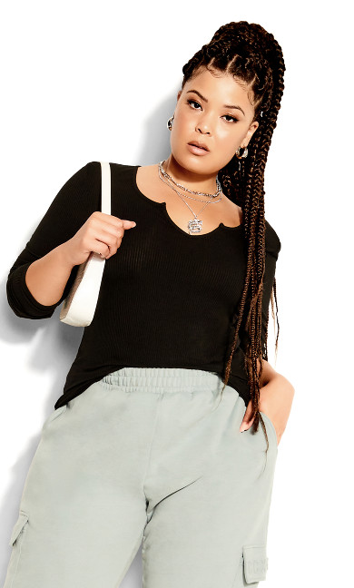 Notch Neck Long Sleeve Top - black