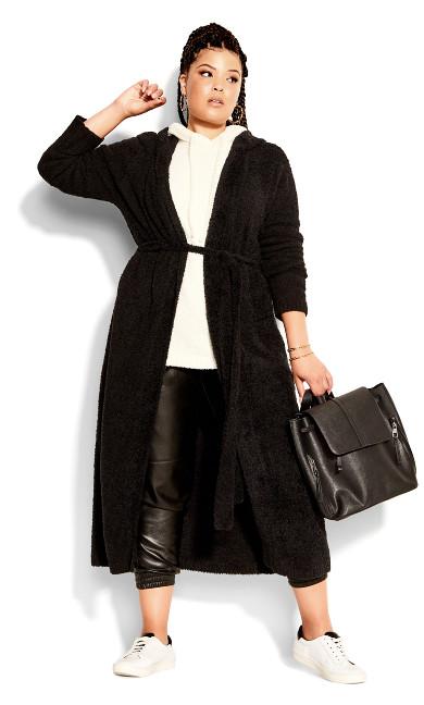 Fluffy Longline Cardigan - black