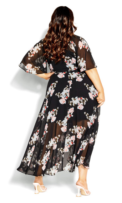 Lotus Wrap Maxi Dress - Black