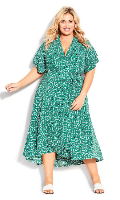 Vivian Wrap Maxi Dress - green floral