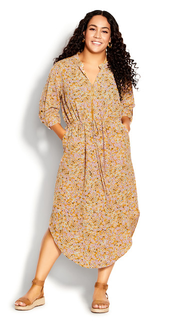 Plus Size Draw Me In Print Dress - mustard disty