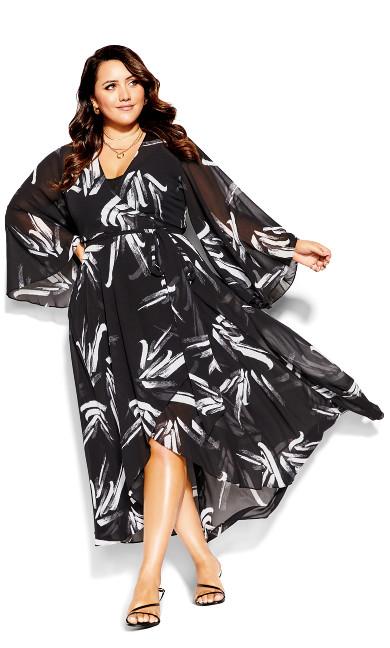 Fleetwood Swish Maxi Dress - black white