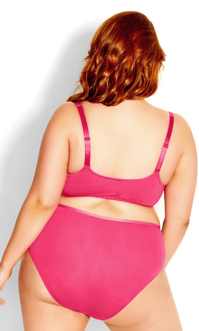 Smooth & Chic Front Close Cotton Push Up Bra - hot pink