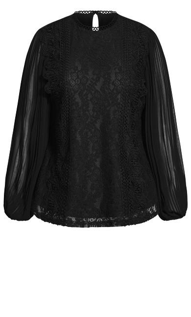 Pleat Sleeve Top - black
