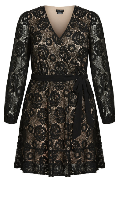 Lace Fly Away Dress - black