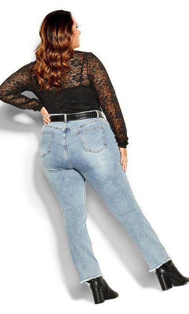 Long Sleeve Lace Bodysuit - black