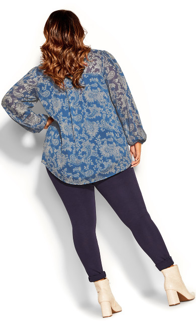 Chic Paisley Top - indigo