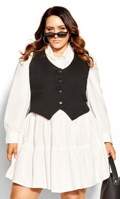 Chic Buttons Dress - ivory