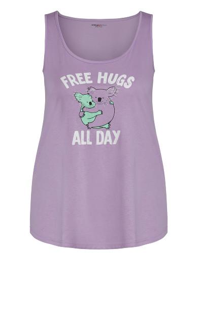 Free Hugs Sleep Tank - lilac koala
