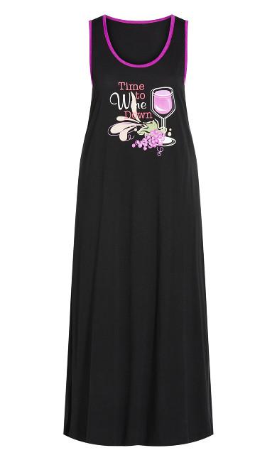 Wine Down Maxi Sleep Dress - black