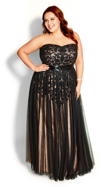 Embroidered Tulle Dress - black