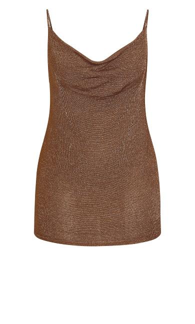 Shimmer Cowl Neck Top - bronze
