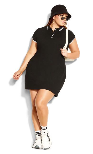 Shirt Varsity Dress - black