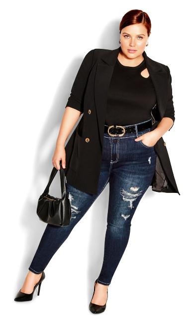 Asha Sassy Rips Jean - dark denim