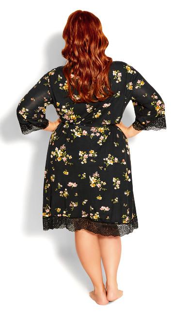 Daisy Meadow Robe - black