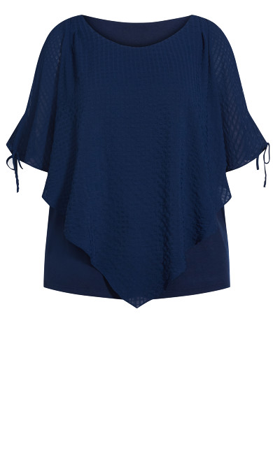 Shelly Cold Shoulder Overlay Top - navy