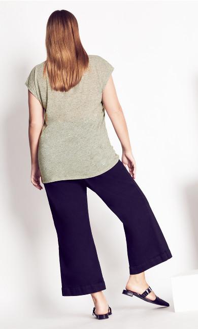 Linen Blend Top - khaki