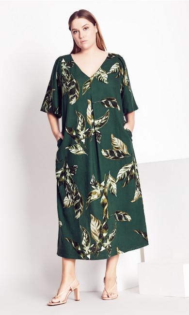 Palm Short Sleeve Dress - green