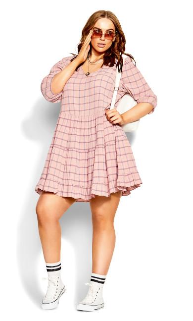 Flirty Check Dress - pink check