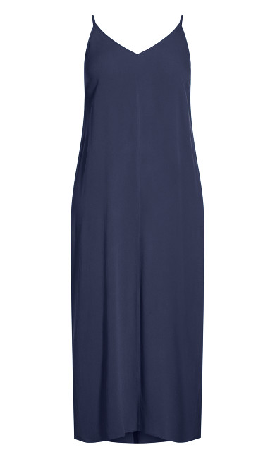 Simple V Neck Maxi Dress - navy