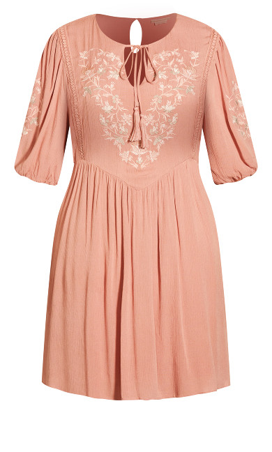 Goddess Embroidered Dress - soft rose