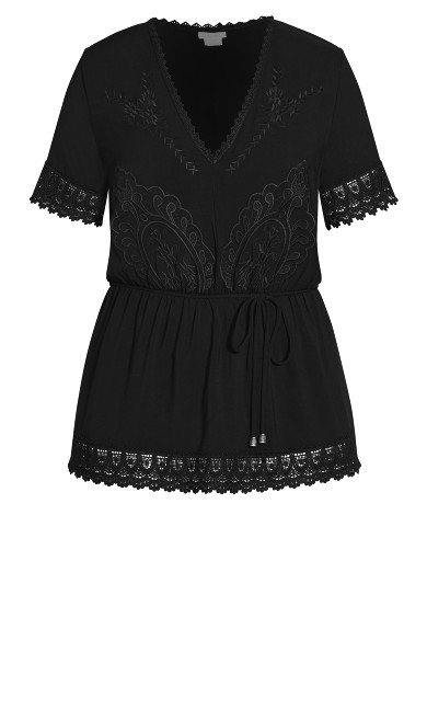 Lust Embroidered Top - black