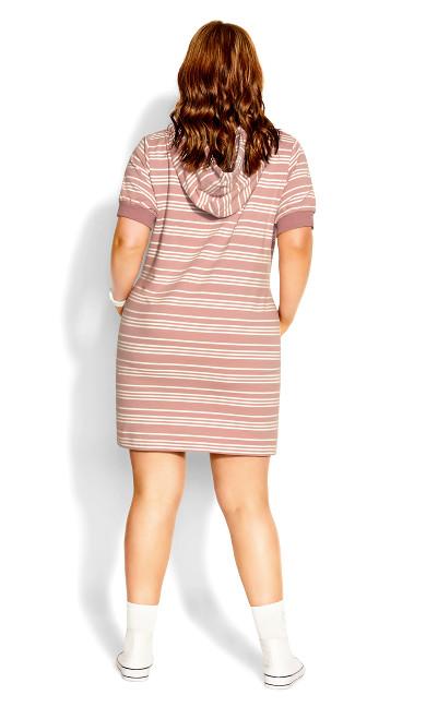 Stripe Hoodie Dress - dusty rose