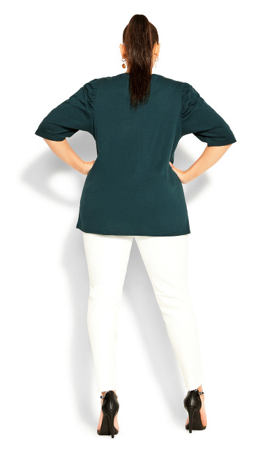 Sweet Ruched Top - emerald