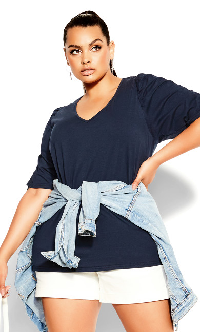 Sweet Ruched Top - french navy