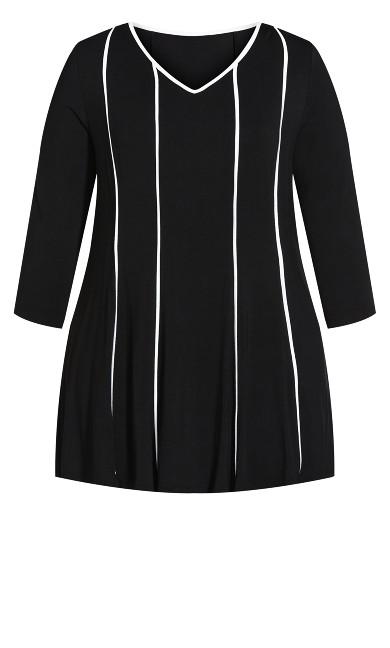 3/4 Sleeve Swing Panel Tunic - black