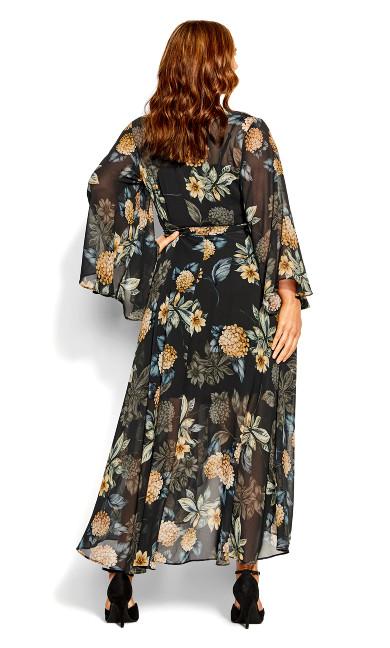 Golden Hydrangea Maxi Dress - black